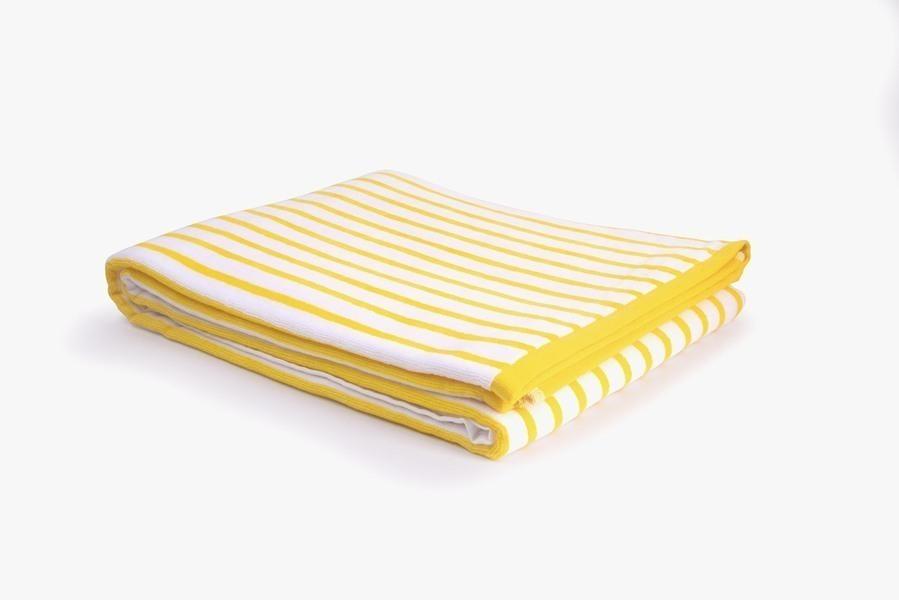 Nuances - Drap de plage coton 420g 100/180cm jaune/blanc