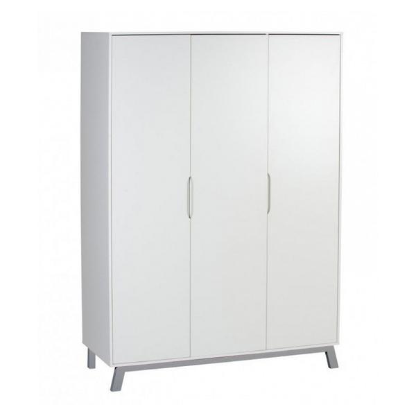 Schardt - Armoire bébé 3 portes bois laqué blanc et pieds hêtre gris