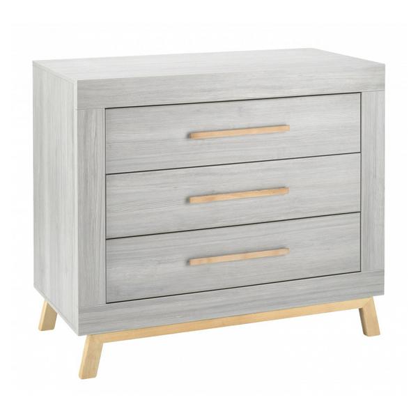 Schardt - Commode avec plan à langer 3 tiroirs bois gris et pieds hêtre
