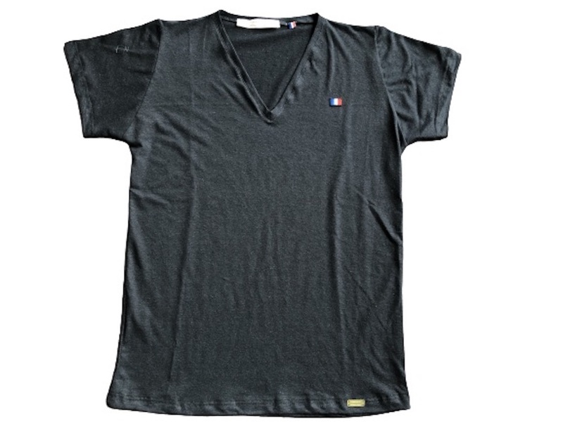 Or'ganic par LC - T shirt Fabriqué en France, chanvre et coton bio, NOIR M
