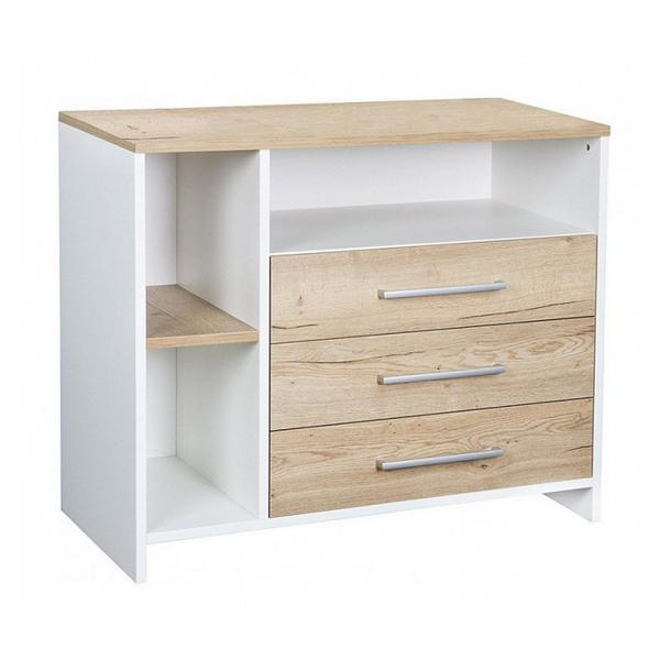 Schardt - Commode avec plan à langer 3 tiroirs bois blanc et chêne clair