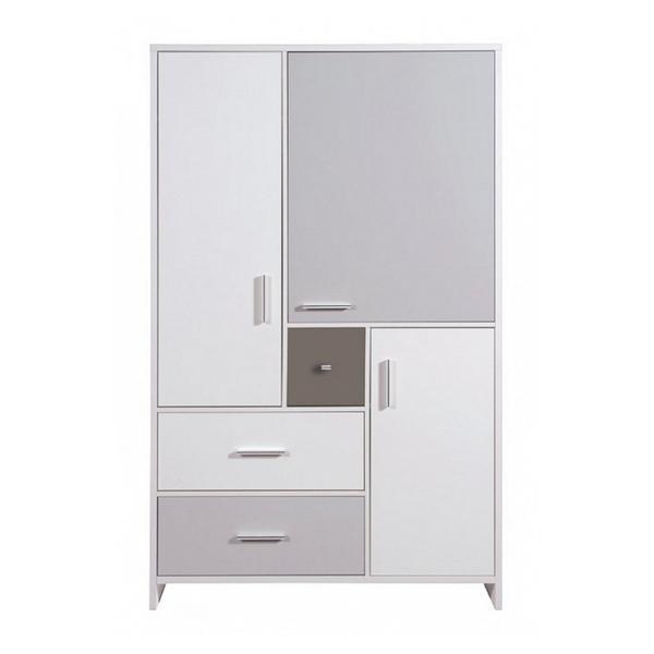 Schardt - Armoire bébé 3 portes 3 tiroirs bois blanc et gris Candy Grey