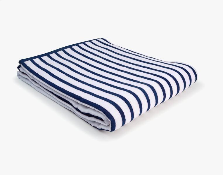 Nuances - Drap de plage coton 420g 100/180cm bleu/blanc