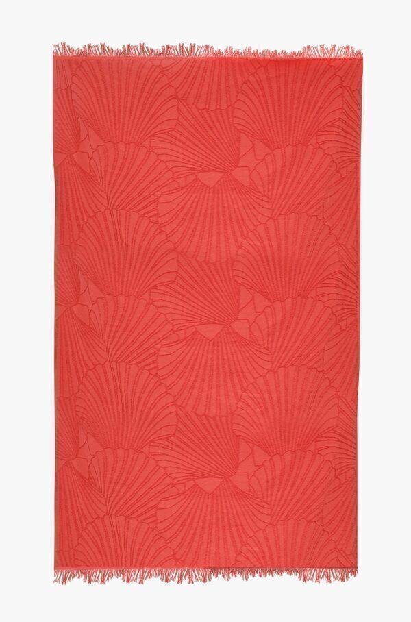 Nuances - Fouta de plage coton 320g 100/180cm coquillages orangue sanguine
