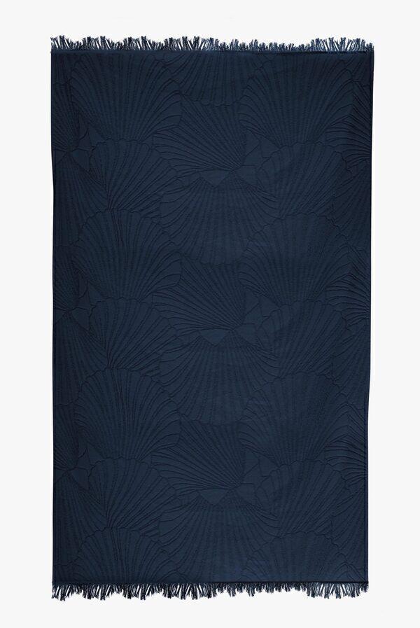 Nuances - Fouta de plage coton 320g 100/180cm coquillages bleu atlantique
