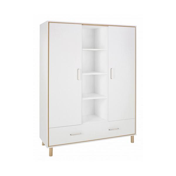Schardt - Armoire bébé 2 portes bois blanc et pieds hêtre clair Coco L