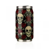 Les Artistes - Mug isotherme Pull Can'it Rose et tête de mort 28cl