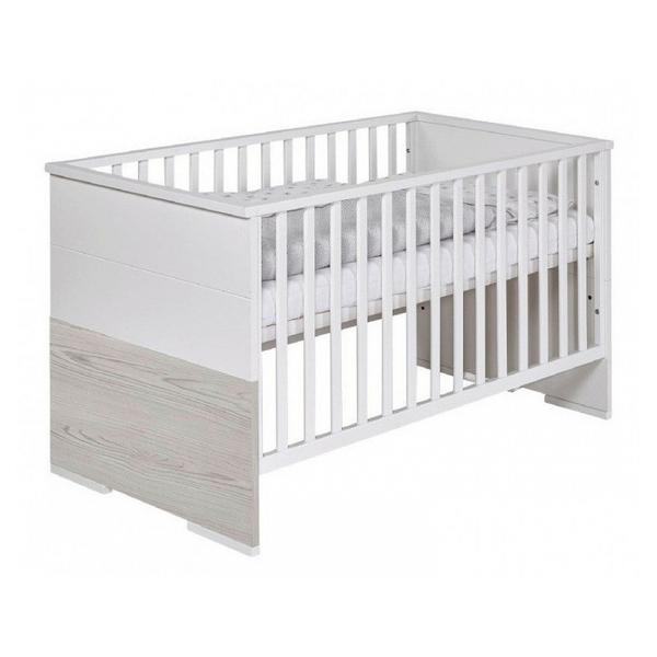 Schardt - Lit bébé 70x140 cm bois laqué blanc et pin gris Maxx