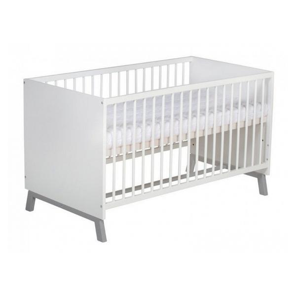 Schardt - Lit bébé 70x140 cm bois blanc et pieds hêtre gris Florence L