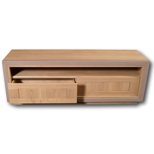 Mon petit meuble français - Meuble TV merisier massif 150x40 cm