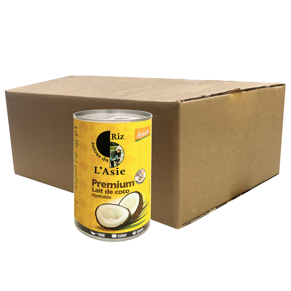 Autour du Riz - L'Asie - Lait de Coco Premium Equitable et Demeter - Colis 12 x 400ml