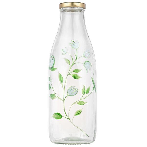 By Tiline - Bouteille en verre 1L - Crocus Blanc peint à la main
