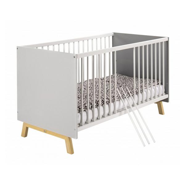 Schardt - Lit bébé 70x140 cm bois gris et pieds hêtre clair Vegas  L