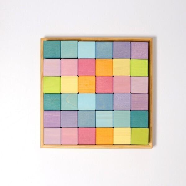 GRIMM'S - Bloc de construction carré pastel