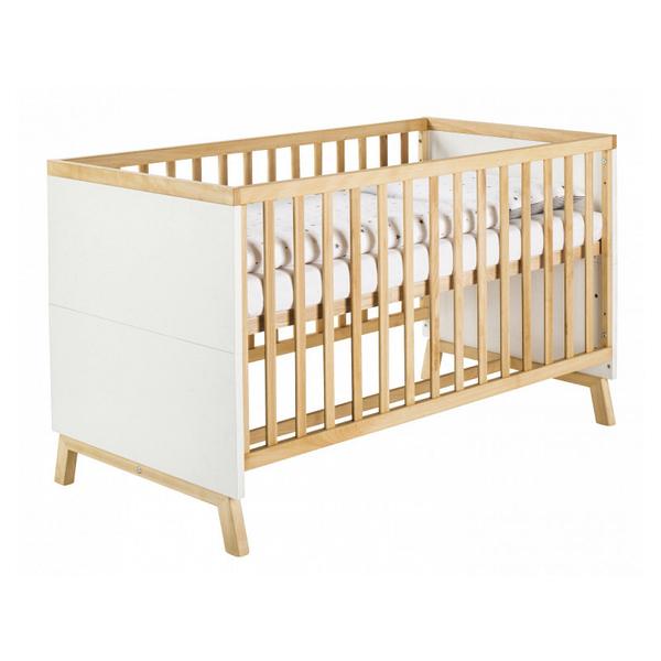 Schardt - Lit bébé 70x140cm hêtre massif clair et blanc Miami  L 144 x