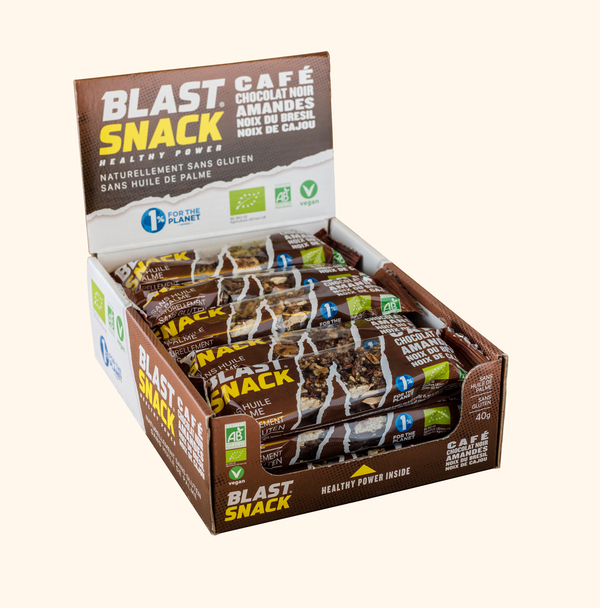 Blast Snack - Barre de Noix - Café Chocolat noir Amandes 15 x 40g