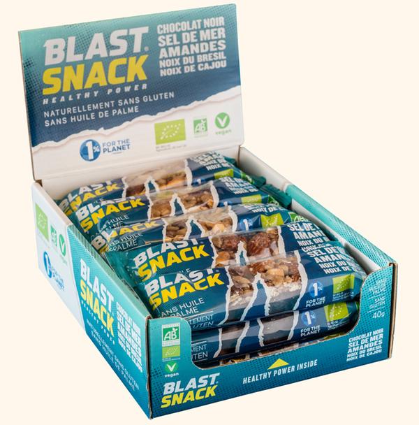Blast Snack - Barre de Noix - Chocolat noir Sel de mer Amandes - 15 x 40g