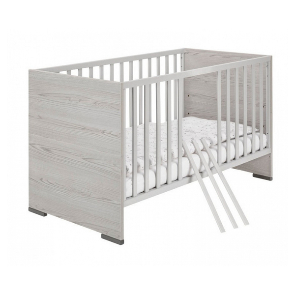 Schardt - Lit bébé 70x140 cm bois clair et hêtre massif gris Pixie L