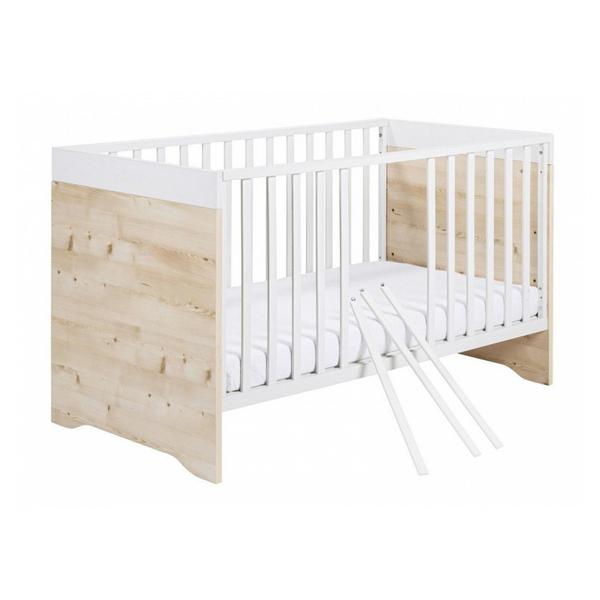 Schardt - Lit bébé 70x140 hetre massif blanc et pin clair Timber L 145 x