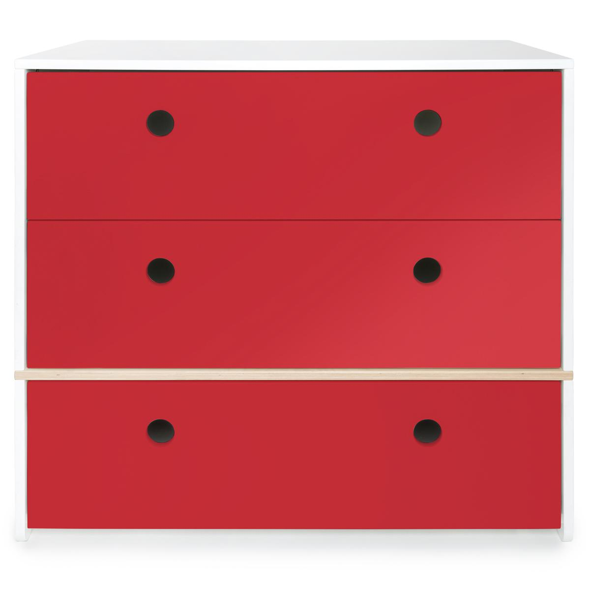 Wookids - Commode 3 tiroirs COLORFLEX t red