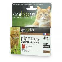 Anibiolys - Etui de 2 pipettes antiparasites chat 0,6ml
