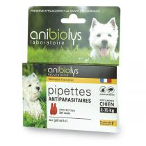 Anibiolys - Etui de 2 pipettes antiparasites petit et moyen chien 1ml