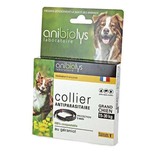 Anibiolys - Collier antiparasitaire géraniol chien -15kg
