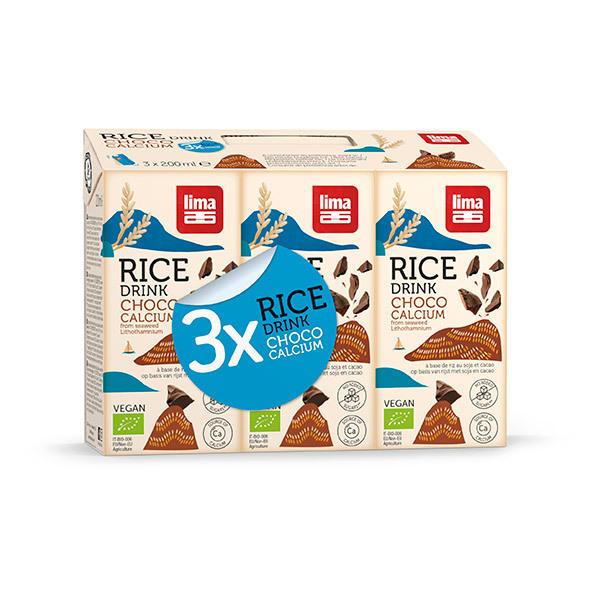 Lima - Boisson végétale riz chocolat soja 3x200ml