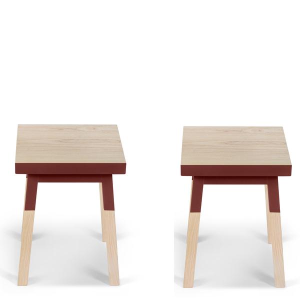Mon petit meuble français - 2 tabourets en frêne massif 35x35 cm