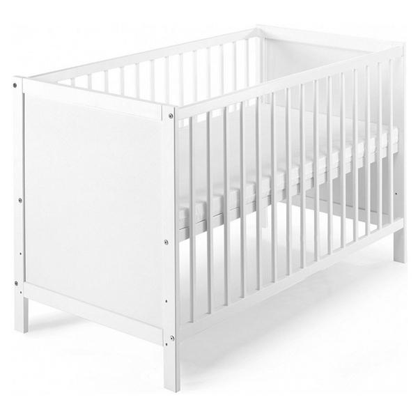 Schardt - Lit bébé à barreaux bois blanc Leo 60 Couchage 60x120 cm - L