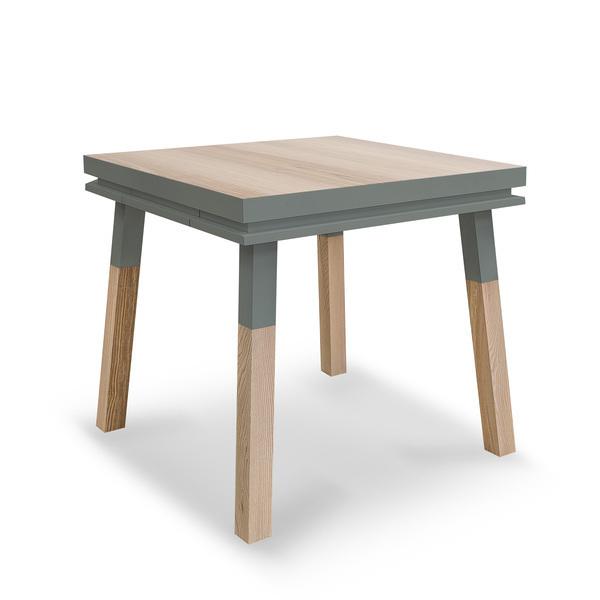Mon petit meuble français - Table cuisine avec tiroir, frêne massif 100x100 cm