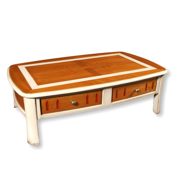 Gontier - Table de salon galbée - merisier massif