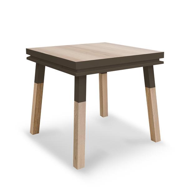 Mon petit meuble français - Table cuisine avec tiroir, frêne massif 80x80 cm