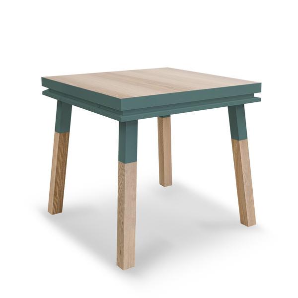Mon petit meuble français - Table cuisine avec tiroir, frêne massif 90x90 cm