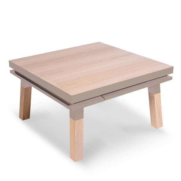 Mon petit meuble français - Table basse carrée 100% frêne massif 100x100 cm