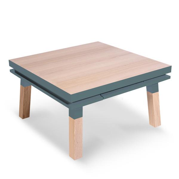 Mon petit meuble français - Table basse carrée 100% frêne massif 80x80 cm