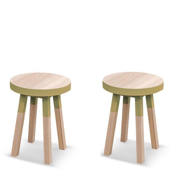Mon petit meuble français - Lot de 2 tabourets frêne massif 40x40 cm