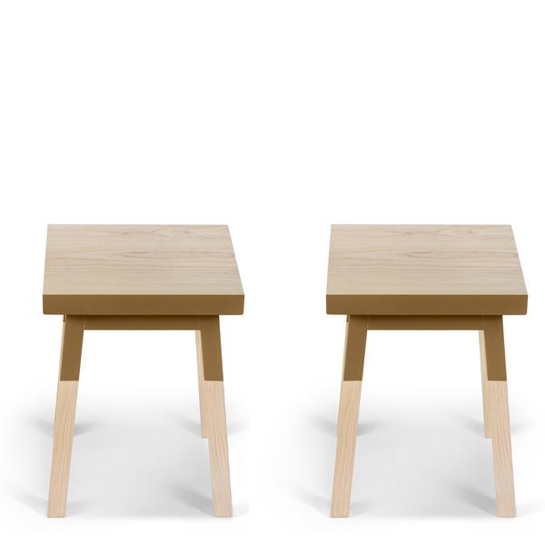 Mon petit meuble français - 2 tabourets en frêne massif 40x40 cm