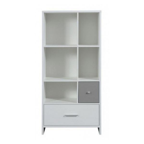 Schardt - Bibliothèque 5 niches 2 tiroirs bois blanc et gris Candy Grey L