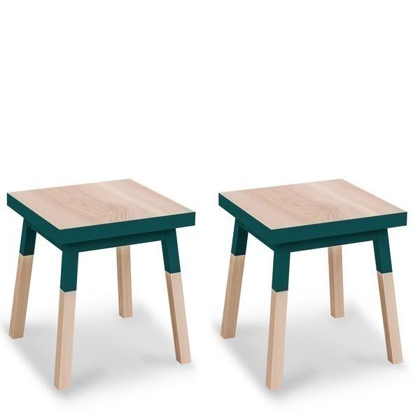 Mon petit meuble français - 2 chevets en frêne massif, 1 tiroir 35x35 cm