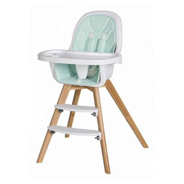 Schardt - Chaise haute simili cuir vert et pieds hêtre massif clair Holly