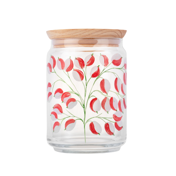 By Tiline - Bocal en verre 1L couvercle bois - Glycine Rouge peint à la main