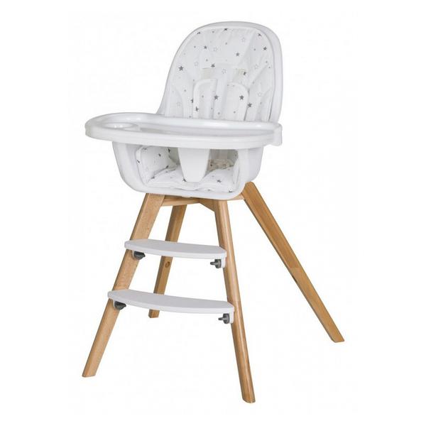 Schardt - Chaise haute tissu blanc et pieds hêtre massif clair Holly L 58