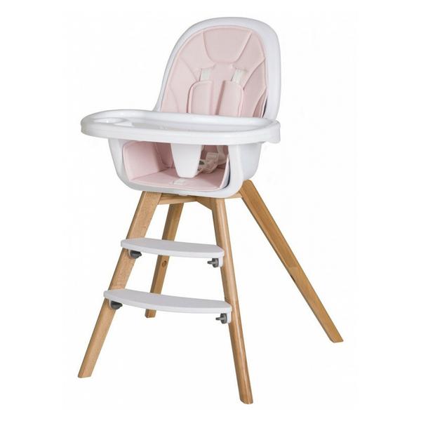 Schardt - Chaise haute simili cuir rose et pieds hêtre massif clair Holly