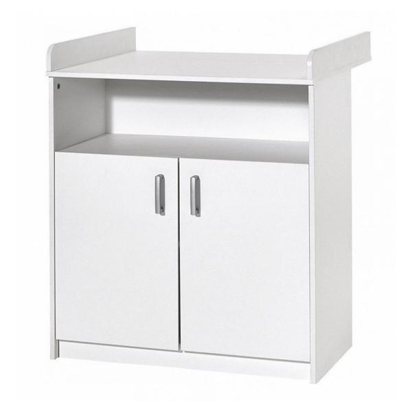 Schardt - Commode avec plan à langer 2 portes bois blanc Classic White L