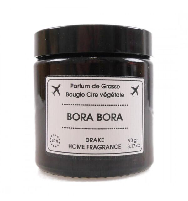 Drake Home Fragrances - Bougie parfumée naturelle, senteur Fleur de Tiaré 90g / 20h BORA