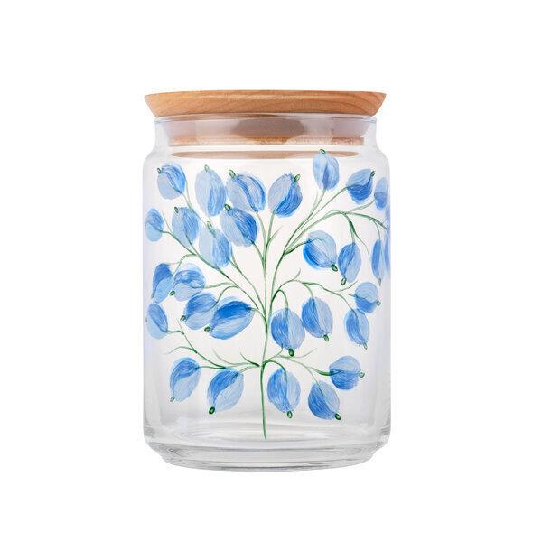 By Tiline - Bocal en verre 1L couvercle bois - Glycine Bleue peint à la main