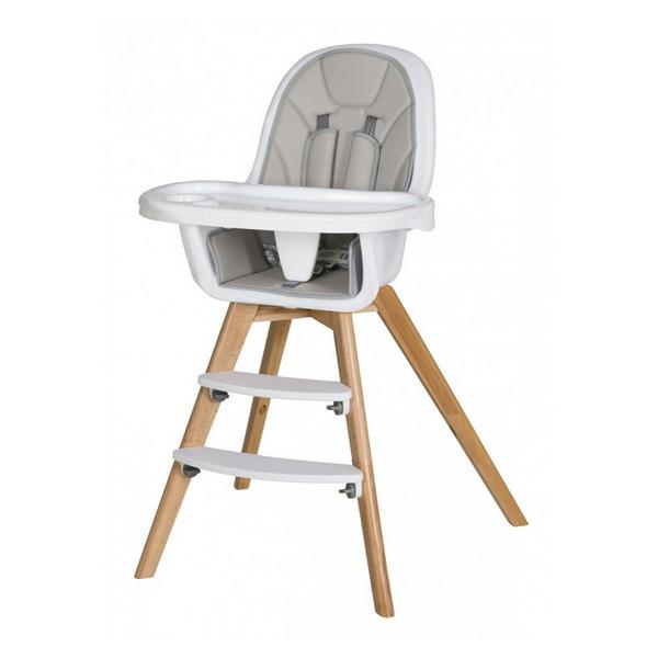 Schardt - Chaise haute simili cuir gris et pieds hêtre massif clair Holly