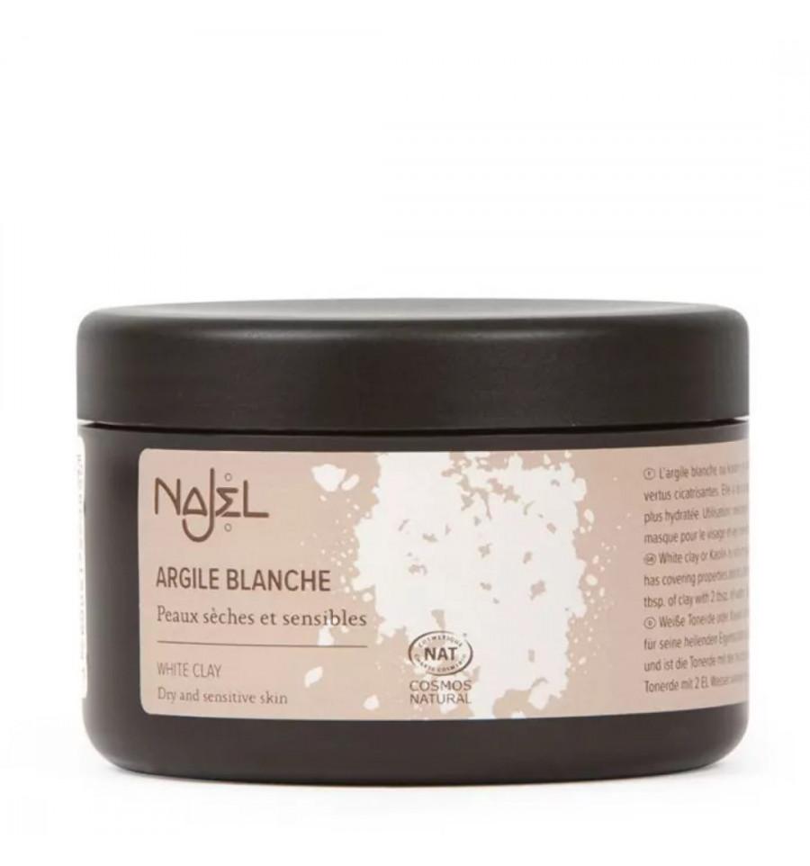 Najel - Argile Blanche Kaolin en poudre 90g, masque visage corps et chev