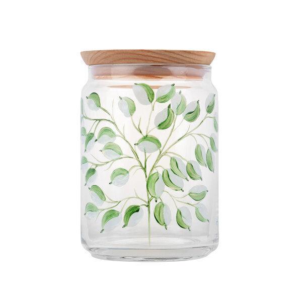 By Tiline - Bocal en verre 1L - Glycine Blanche peint à la main